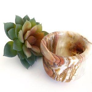 Vintage Marble Cup Succulent Pot or Salt Cellar